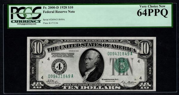1928 $10 Cleveland FRN PCGS 64 PPQ Fr.2000-D Numerical 4 District Item #59019934