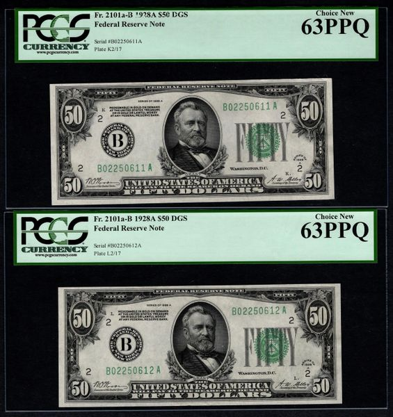 Lot of Ten Consecutive 1928A $50 New York Federal Reserve Notes PCGS 58 to 65 PPQ Fr.2101a-B Item #59109988-97