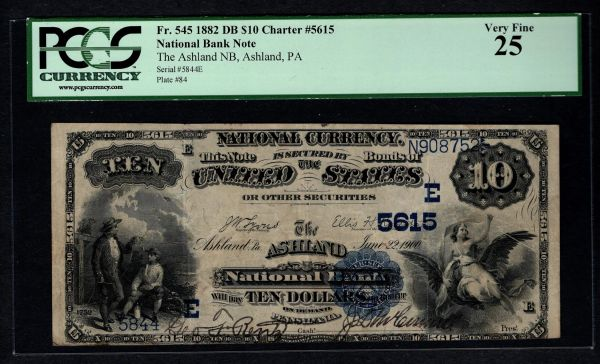 1882 $10 Ashland National Bank PA Pennsylvania PCGS 25 Fr.545 Charter CH#5615 Item #80489281