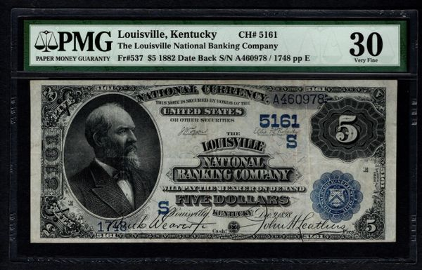 1882 $5 Louisville National Banking Company Kentucky PMG 30 Fr.537 Charter CH#5161 Item #5012946-008