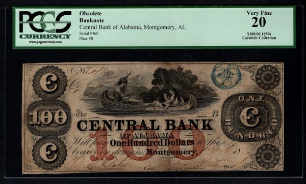 1850's $100 Central Bank of Montgomery Alabama PCGS 20 with Indian Canoe Scene Item #80393290