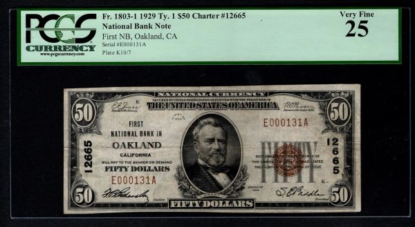 1929 $50 First National Bank Oakland CA California PCGS 25 Fr.1803-1 Charter CH#12665 Item #80782904