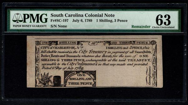 1789 Charleston South Carolina Colonial Note PMG 63 SC-197 One Shilling, Three Pence Item #8058814-009