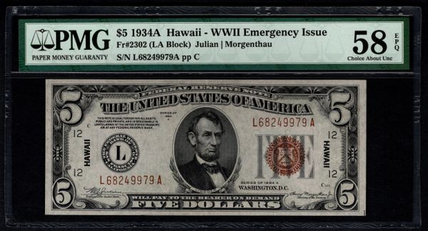1934A $5 Hawaii Federal Reserve Note PMG 58 EPQ Fr.2302 Item #8058814-013