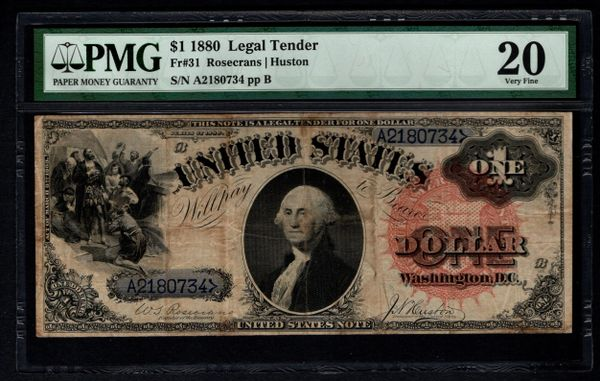 1880 $1 Legal Tender PMG 20 Fr.31 United States Note Item #8058814-012