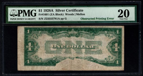 1928A $1 ERROR Obstructed Printing PMG 20 Fr.1601 Silver Certificate Item #8058814-003