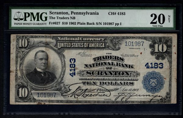 1902 $10 Traders National Bank of Scranton PA Pennsylvania PMG 20 NET Fr.627 Charter CH#4183 Item #1530312-005