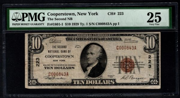 1929 $10 Second National Bank Cooperstown New York PMG 25 Fr. 1801-1 Charter CH#223 Item #1803382-004