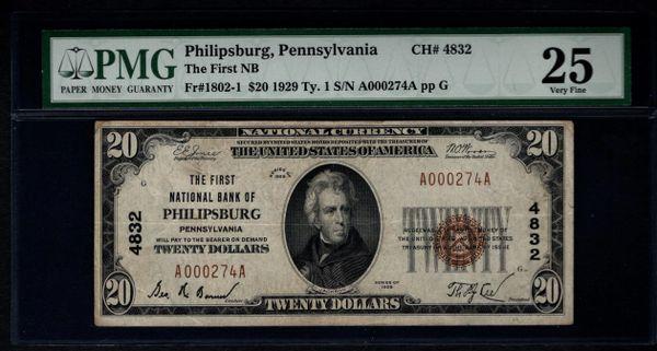 1929 $20 First National Bank Philipsburg PA Pennsylvania PMG 25 Fr. 1802-1 Charter CH#4832 Item #1144562-022