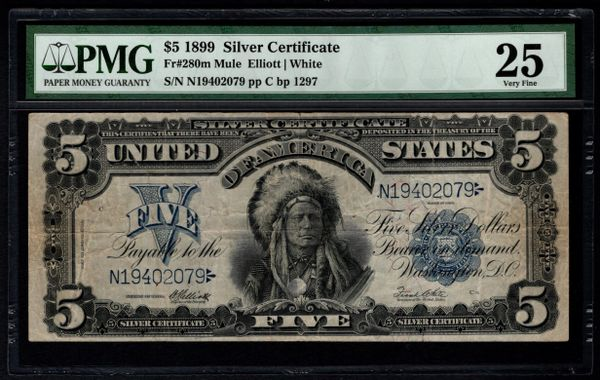 1899 $5 Silver Certificate Indian Chief Note PMG 25 Fr.280m Mule Item #5004761-016