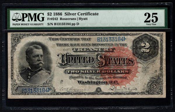 1886 $2 Silver Certificate Hancock Note PMG 25 Fr.242 Item #5004747-003