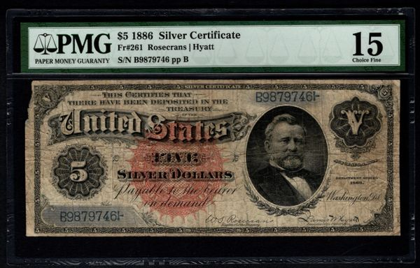 1886 $5 Silver Certificate with Morgan Dollar Back PMG 15 Fr.261 Item #5012888-002