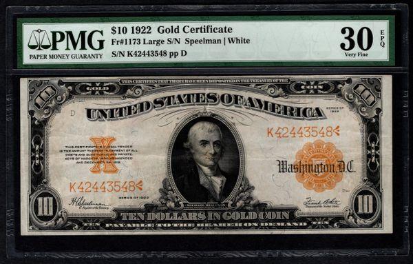 1922 $10 Gold Certificate PMG 30 EPQ Fr.1173 Item #5004763-014