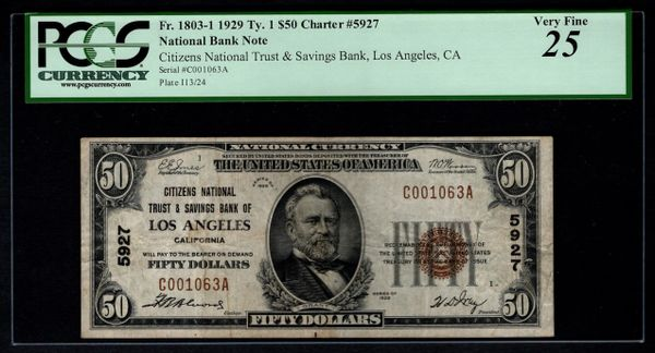 1929 $50 Citizens NT & SB Los Angeles CA California PCGS 25 Fr.1803-1 Charter CH#5927 Item #80782906
