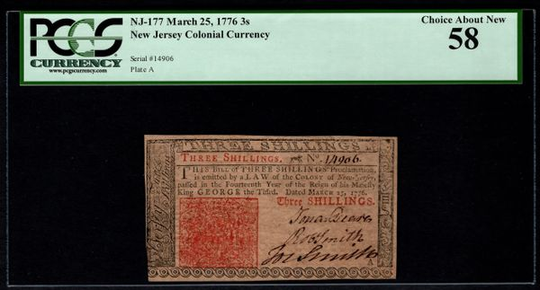 1776 New Jersey Colonial Note PCGS 58 NJ-177 3s Three Shillings Item #80841277