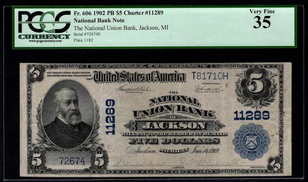 1902 $5 National Union Bank of Jackson Michigan PCGS 35 Fr.606 Charter CH#11289 Item #80612786