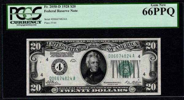 1928 $20 Cleveland FRN PCGS 66 PPQ Fr.2050-D Numerical 4 District Item #80842358