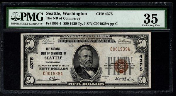 1929 $50 National Bank of Commerce Seattle WA Washington PMG 35 Fr.1803-1 Charter CH#4375 Item #5012483-009