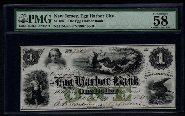 1861 $1 Egg Harbor City Bank NJ New Jersey PMG 58 EPQ with Deer Scene #1004171-015