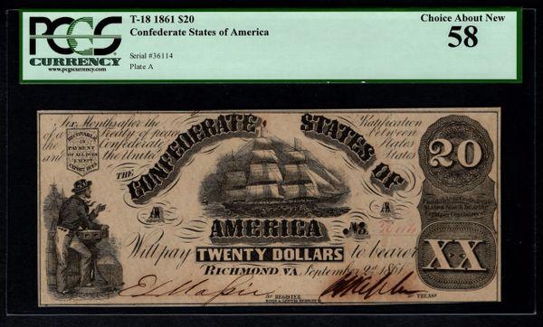 1861 $20 T-18 Confederate Currency PCGS 58 Civil War Note Item #59110994
