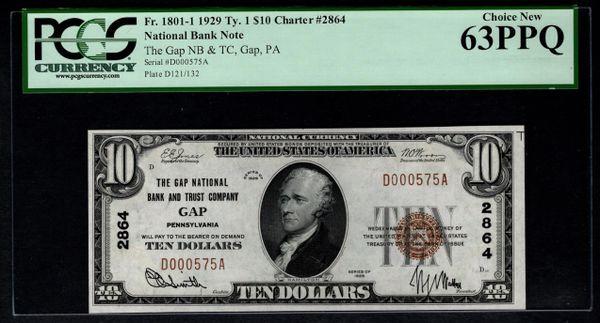 1929 $10 Gap National Bank & Trust Co. Gap PA Pennsylvania PCGS 63 PPQ Fr.1801-1 Charter CH#2864 Item #80785360