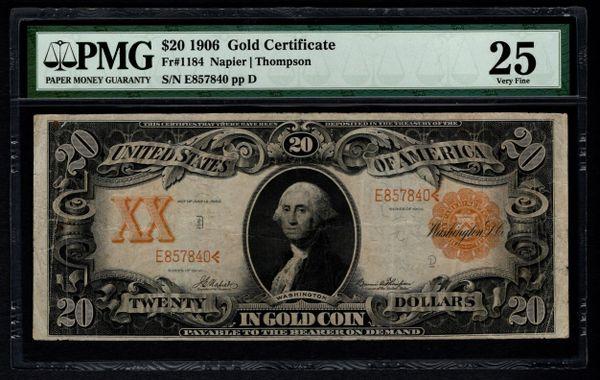 1906 $20 Gold Certificate PMG 25 Fr.1184 Series Key Note Item #5012983-009