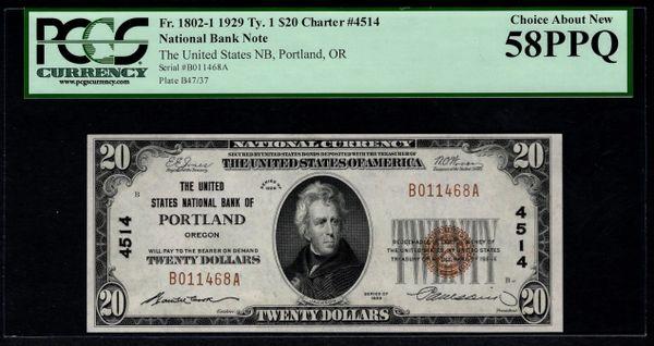 1929 $20 United States National Bank Portland Oregon PCGS 58 PPQ Fr.1802-1 Charter CH#4514 Item #80740836