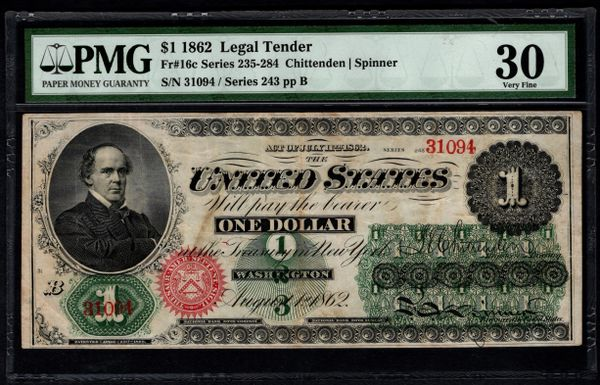 1862 $1 Legal Tender PMG 30 Fr.16c United States Note Item #2508332-002