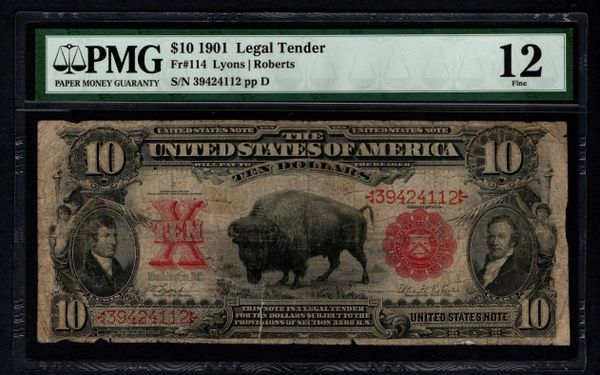 1901 $10 Legal Tender Bison Note PMG 12 Fr.114 Item #5012887-025