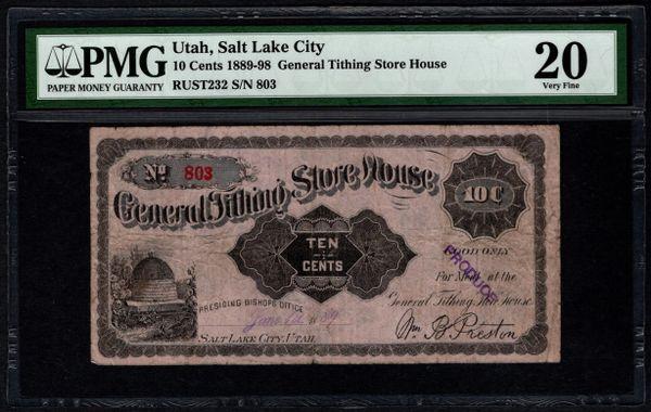 1889-1898 Ten Cents 10c General Tithing Store House Salt Lake City Utah PMG 20 Item #5013196-004