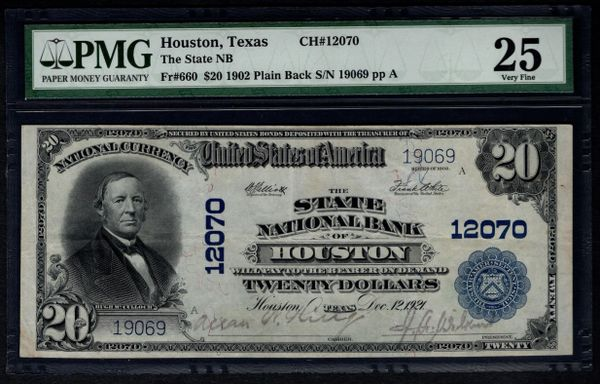 1902 $20 State National Bank of Houston Texas PMG 25 Fr.660 Charter CH#12070 Item #8002994-004