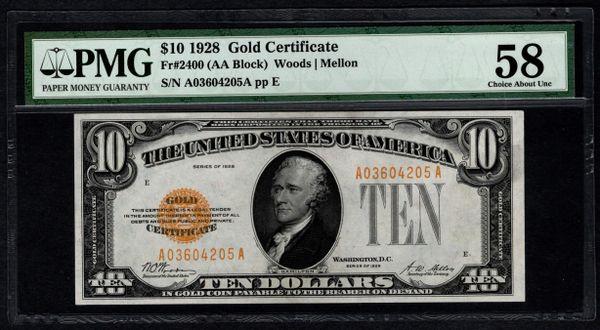 1928 $10 Gold Certificate PMG 58 Fr.2400 Item #5012337-013