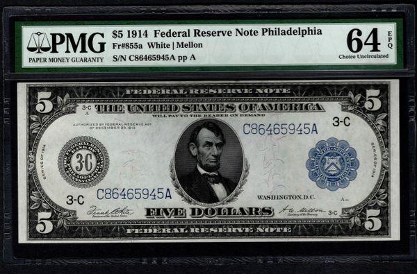 1914 $5 Philadelphia FRN PMG 64 EPQ Fr.855a Item #2509053-006