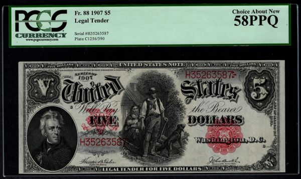 1907 $5 Legal Tender Woodchopper Note PCGS 58 PPQ Fr.88 Item #80682745