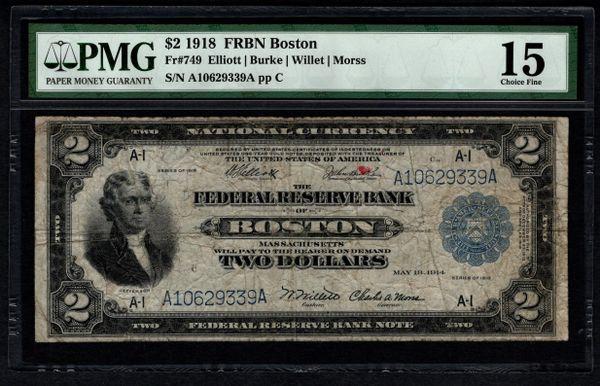1918 $2 Boston FRBN Battleship Note PMG 15 Fr.749 Item #5013023-003