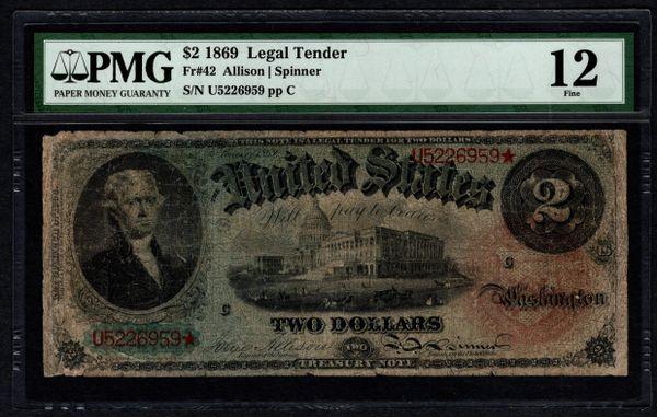 1869 $2 Legal Tender Rainbow Note PMG 12 Fr.42 Item #5013246-003