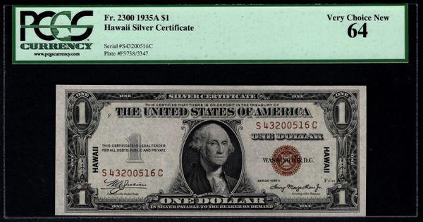 1935A $1 Hawaii Silver Certificate PCGS 64 Fr.2300 Item #80403188