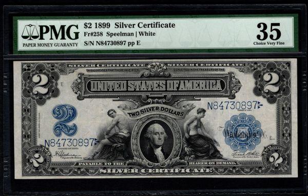 1899 $2 Silver Certificate PMG 35 Fr.258 Mini Porthole Note Item #5004806-011