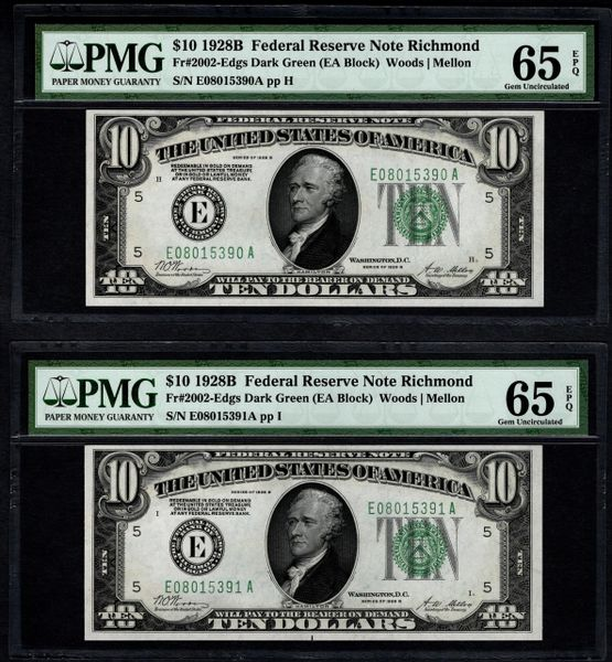 Lot of Two Consecutive 1928B $10 Richmond Federal Reserve Notes PMG 65 EPQ Fr.2002-Edgs Item #5012743-059/060