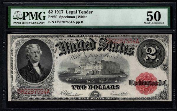 1917 $2 Legal Tender PMG 50 Fr.60 United States Note Item #5013045-006