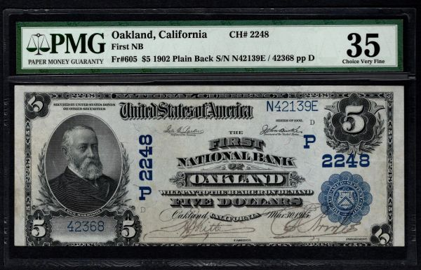 1902 $5 First National Bank Oakland CA California PMG 35 Fr.605 Charter CH#2248 Item #8048870-001