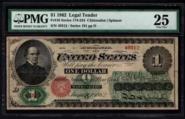 1862 $1 Legal Tender PMG 25 Fr.16 United States Note Item #8062677-003