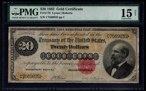 1882 $20 Gold Certificate PMG 15 NET Fr.1178 Item #5004154-010