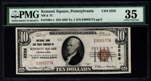 1929 $10 National Bank & Trust Co. Kennett Square PA Pennsylvania PMG 35 Fr.1801-1 Charter CH#2526 Item #8062677-005
