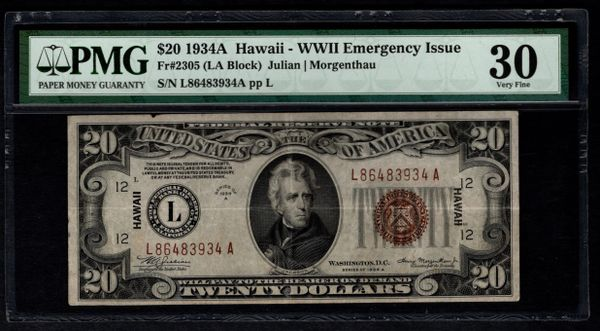 1934A $20 Hawaii Federal Reserve Note PMG 30 Fr.2305 Item #8058814-004