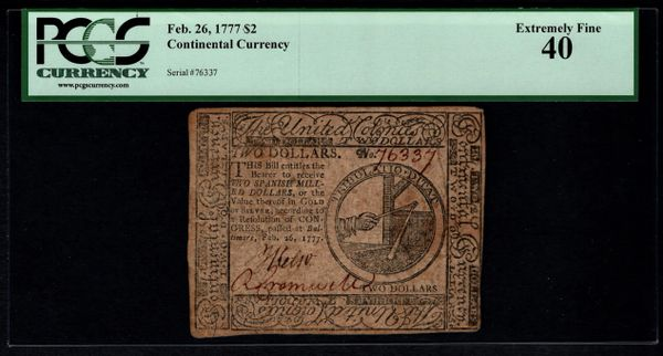 1777 $2 Continental Colonial Currency PCGS 40 February 26, 1777 Item #80443300