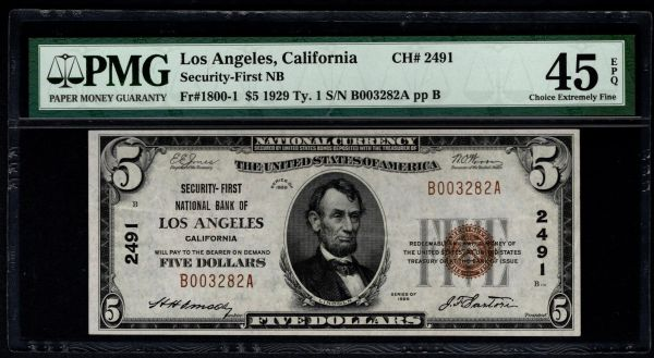 1929 $5 Security-First National Bank Los Angeles California CA PMG 45 EPQ Fr.1800-1 Charter CH#2491 Item #1819011-001