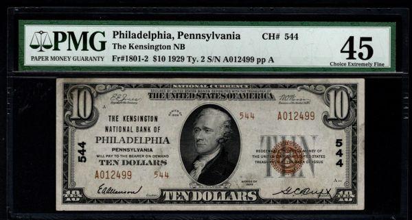 1929 $10 Kensington National Bank of Philadelphia Pennsylvania PA PMG 45 Fr.1801-2 Charter CH#544 Item #1721850-037
