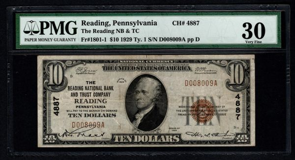 1929 $10 Reading National Bank & Trust Co. Pennsylvania PA PMG 30 Fr.1801-1 Charter CH#4887 Item #1721850-042