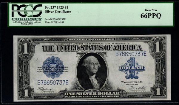 1923 $1 Silver Certificate PCGS 66 PPQ Item #80157532